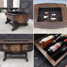 Whiskey Barrel Coffee Table, Whiskey Barrel Furniture, Lift Top Coffee Table, Coffee Table With Storage, Whiskey Barrels, Coffee Tables, Wood Cradle, Bar Furniture, Automotive Furniture