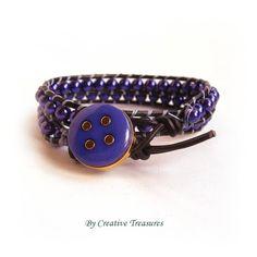 Leather 2x Wrap Bracelet with Purple Pearls £17.00
