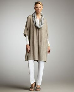 Kimono Cape........Eileen Fisher. I'd print the leggings with Tee Juice Polka dots and change up the overpiece.