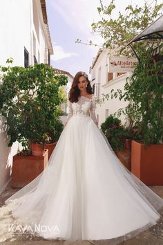 Wedding dress Azalia by Kaya Nova. Airy A-line silhouette dress with sheer bodice and hand embroidered lace. Button fastening at the back. European Wedding, Lace Button, Dress Silhouette, Dress Collection, Wedding Styles, Designer Dresses, Nice Dresses, Wedding Gowns, Bodice