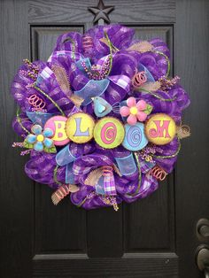 BLOOM SPRING Mesh Wreath by GlitzyWreaths