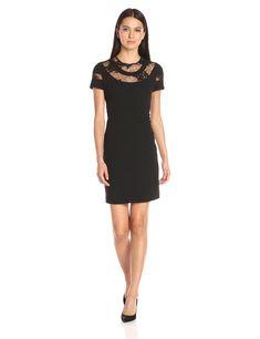 Donna Morgan Women's Short Sleeve a-Line Dress, Black, 10