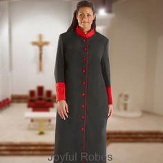 308 W. Women's Clergy/Pastor Robe - Black/Red
