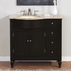 WYNDENHALL Windham Black 36 inch 2 door Bath Vanity Set with