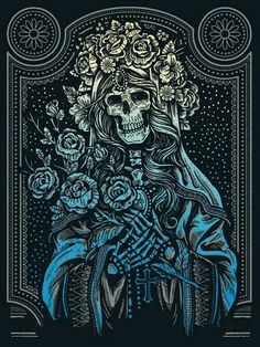 "Warpaint Press will release another art print by Derrick Castle (aka Straw Castle) today. ""Sacred Virgin"" is an x screenprint, has an edition of 75 Mais Tinta Tattoo, Desenho Tattoo, Art And Illustration, Fantasy Kunst, Fantasy Art, Art Chicano, Arte Obscura, Skeleton Art, Creepy Art"