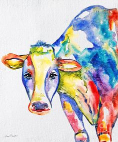 Colorful Cow-jp2489 Print By Jean Plout