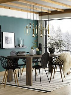 Need some help decorating your unique dining room design? We have the solutions! This contemporary dining room ideas are the perfect home interior decor you've been waiting for! Black Wall Shelves, Living Room Decor, Living Spaces, Modern Wall Decor, Black Walls, Green Walls, Dining Room Design, Green Dining Room, Room Colors