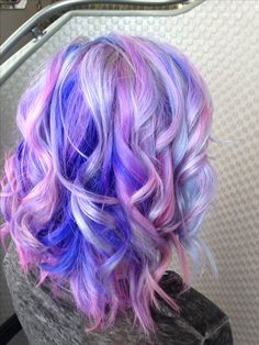 pastel cloudy lavender blue pink silver hair curled! <3