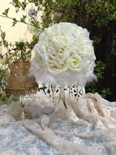 I like how the fabric is draped. Shabby Chic Centerpieces, Feather Centerpieces, Wedding Stuff, Dream Wedding, Wedding Ideas, Bat Mitzvah, Flower Designs, Dangles, Bouquet