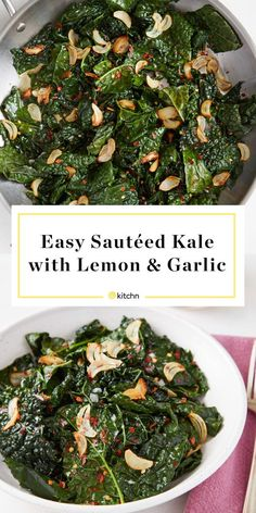 How To Cook Kale - Easy Sauteed Kale Recipe. Need recipes and ideas for simple sides and side dishes that are healthy and taste great? This sauteed healthy side salad is flavored with lemon and lots of garlic.