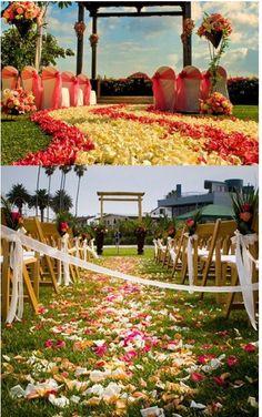flower petals along wedding pathway
