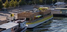 Petit Bain - on a barge, with music - best of outdoor sipping list Water Architecture, Bar Restaurant, Lets Dance, Paris, Boat, France, Mansions, House Styles, Urban