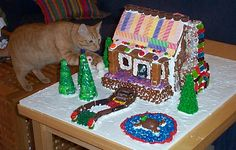 Gingerbread House Ideas - I like the sticks of gum on the roof.