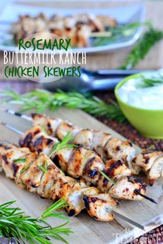 Crank up the heat on your grill and get ready to impress your family with these mouthwatering Rosemary Buttermilk Ranch Chicken Skewers! An easy dinner recipe for any night of the week! | MomOnTimeout.com