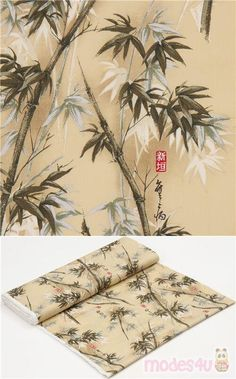 """beige cotton fabric with bamboo shoots, calligraphy, Material: 100% cotton broadcloth, Fabric Type: strong cotton fabric, Pattern Repeat: ca. 59.5cm (23.4"""") #Cotton #Flower #Leaf #Plants #USAFabrics Bamboo Shoots, Modes4u, Japanese Fabric, Fabric Patterns, Repeat, Cotton Fabric, Textiles, Kawaii"""
