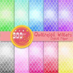 Watercolor quatrefoil digital paper watercolor by GemmedSnail, $4.00