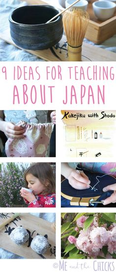 9 Ideas for Teaching about Japan: use my interactive approach to teaching homeschool geography for elementary school kids. Make learning fun through crafts, music, food and more. Find easy Japan-inspired craft tutorials like making a kakejiku with shodo, sewing a kinchaku, and hand-stitching sashiko at meandthechicks.com