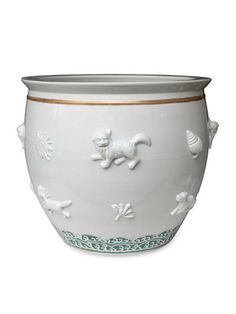 Large Planter With Relief Decoration by APF Munn on Gilt Home