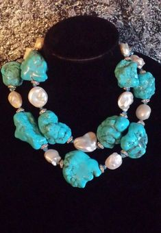 Turquoise Nugget Pearl Statement Necklace Boulder Necklace Haute Couture Luxury Oversized Gemstone J Pearl Statement Necklace, Bold Necklace, White Necklace, Diy Necklace, Necklace Designs, Necklaces, Turquoise Jewelry, Gemstone Jewelry, Beaded Jewelry