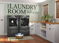 """The Laundry Room - Loads of fun!!   Homeware collection for home improvement   Interior design ideas   Home decor   Clothing Room by BrutalVisual    12.30 EUR  Ohhh... we know what doing the Laundry is soooo fun!!! To """"celebrate"""" that.. here is the perfect decal!!! _ Decor your Landry Room with this humourous lettering decal... keeping it simple but with a twist... :)  This design be produced in other custom sizes if you require so just contact me if you need that.. :)  """"Decal landry Funny…"""