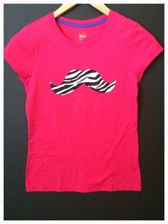 For Jayden to wear  New Super Cute Girls Hot Pink L(10/12)  Zebra Print Mustache Designed Tee Shirt  on Etsy, $14.99