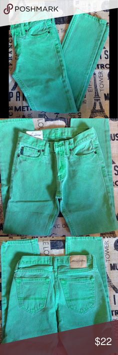 NWOT Abercrombie & Fitch, Boys Skinny Jean Sz 12👖 Just in time for school! These are brand new, never worn. I bought them for my son who then informed me that he didn't want anymore skinny pants! 😯 Vivid green. These are an awesome color and cut. You're son will love them! Size 12. 👖 Abercrombie & Fitch Bottoms Jeans