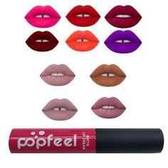 Brand Popfeel Makeup Matte Lipstick Waterproof batom Tint Lip Gloss Red Velvet Cashmere Long Lasting Pintalabios Lip Gloss