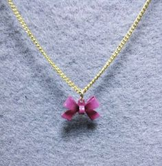 Delicate PinkBow Necklace by OneSEC on Etsy, $9.00