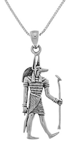 Jewelry Trends Sterling Silver Anubis Egyptian God of the Underworld Pendant on 18 Inch Chain Necklace