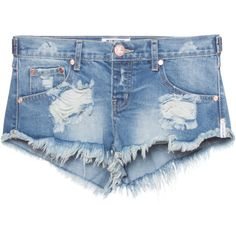 One Teaspoon Trashwhores Austyn // Destroyed denim shorts ($130) ❤ liked on Polyvore featuring shorts, hot short shorts, ripped jean shorts, denim shorts, sexy jean shorts and sexy hot pants