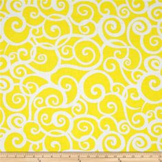 Kanvas Lemon Tree Scroll Yellow from @fabricdotcom  Designed by Maria Kalinowski for Kanvas in association with Benartex, this cotton print fabric is perfect for quilting, apparel and home decor accents. Colors include yellow and white.