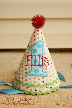Love the personalized party hat idea!