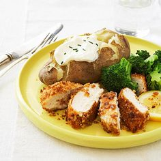 Pretzel Chicken with Citrus Sauce & Baked Potato - Fitnessmagazine.com