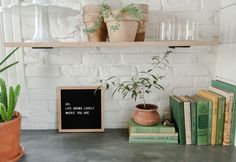 Ideal concrete counter and painted brick backsplash