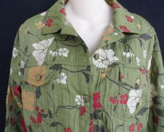"Chico's Floral Embroidered Coat/Jacket Green Size 1. Excellent Condition~Unique Fashion Statement Coat. Chest~ 41"" Length From Back~ 25"". If You Should Encounter Any Issues With Your Order. 