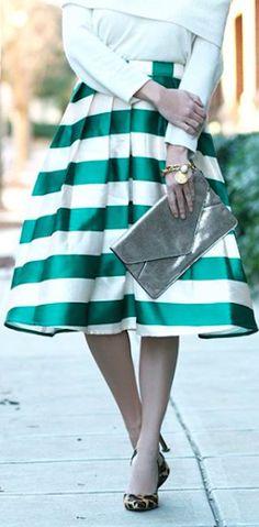 darling striped midi skirt