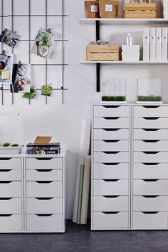 Plenty of storage space for any home office with the IKEA ALEX drawer unit with 9 drawers! It is a high unit with many drawers, which means plenty of storage that takes up minimal floor space.