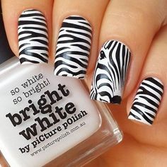 Extend style to your nails with the help of nail art designs. Used by fashion-forward celebs, these types of nail designs can incorporate instant allure to your apparel. Zebra Nail Designs, White Nail Designs, Fall Nail Designs, Simple Nail Designs, Nails Design, Zebra Acrylic Nails, Zebra Nail Art, Zebra Print Nails, Zebra Stripe Nails