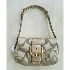 NWT Coach soho signature shoulder purse New gold khaki signature purse. Approx 10.5 x 7 NO TRADES! Coach Bags