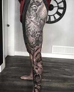 Tattooed with тату tattoos, leg sl Animal Sleeve Tattoo, Leg Sleeve Tattoo, Leg Tattoo Men, Best Sleeve Tattoos, Tattoo Sleeve Designs, Animal Tattoos, Tattoo Designs Men, Full Leg Tattoos, Lion Head Tattoos