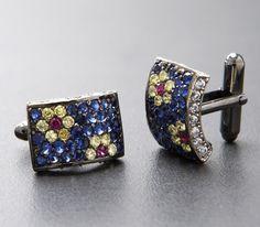 Silver Cufflinks - Azure Rectangle