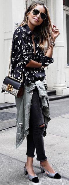 #summer #fashion #outfitideas Star Print Shirt + Utility Jacket + Denim