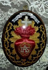 Antique Art Nouveau Ex-Voto Reliquary ~ Sacred Heart ~ Made by French NUNS 1900S