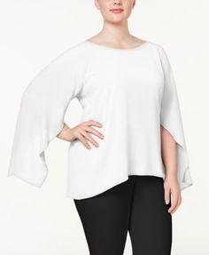 cde8d607f61 Calvin Klein Plus Size Bell-Sleeve Blouse - White