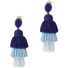 Oscar De La Renta Women's Tiered Tassel Silk Earrings ($450) ❤ liked on Polyvore featuring jewelry, earrings, blue, ombre earrings, tassle earrings, silk jewelry, oscar de la renta jewelry and blue jewelry