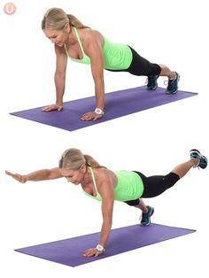 Chris Freytag demonstrating plank to balance plank on a purple yoga mat