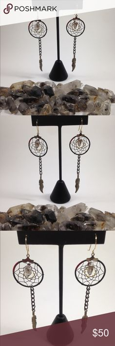 Wire Wrapped Herkimer Diamond Dream Catchers ❤️ Herkimer Diamonds  ❤️ Red and black wire  ❤️ tarnish resistant wire and chain  ❤️ Tibetan silver feather charms Soft.Metal.Alchemist Jewelry Earrings
