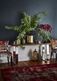 The Caspian Atlantic Console Table features a rustic wood top and stainless steel legs for a unique look. Part of our beautiful Jewelled Ambition trend.
