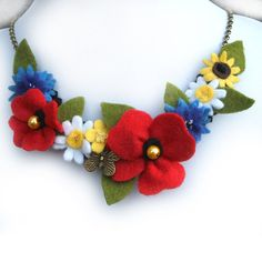 Wildflower Necklace, Red Poppy, Cornflowers, Daisies, Buttercup Bib Necklace, Felt Flower Jewelry, Wild Flowers Butterfly Accessory