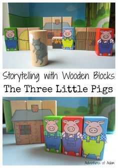 Storytelling with Wooden Blocks: The Three Little Pigs. Use Mod Podge glue to attach Twinkl images of the Three Little Pigs to wooden blocks. Great for toddlers and preschoolers early literacy skills.